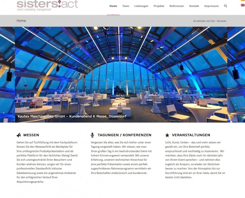 Sisters Act Webseite Event | Management | Marketing